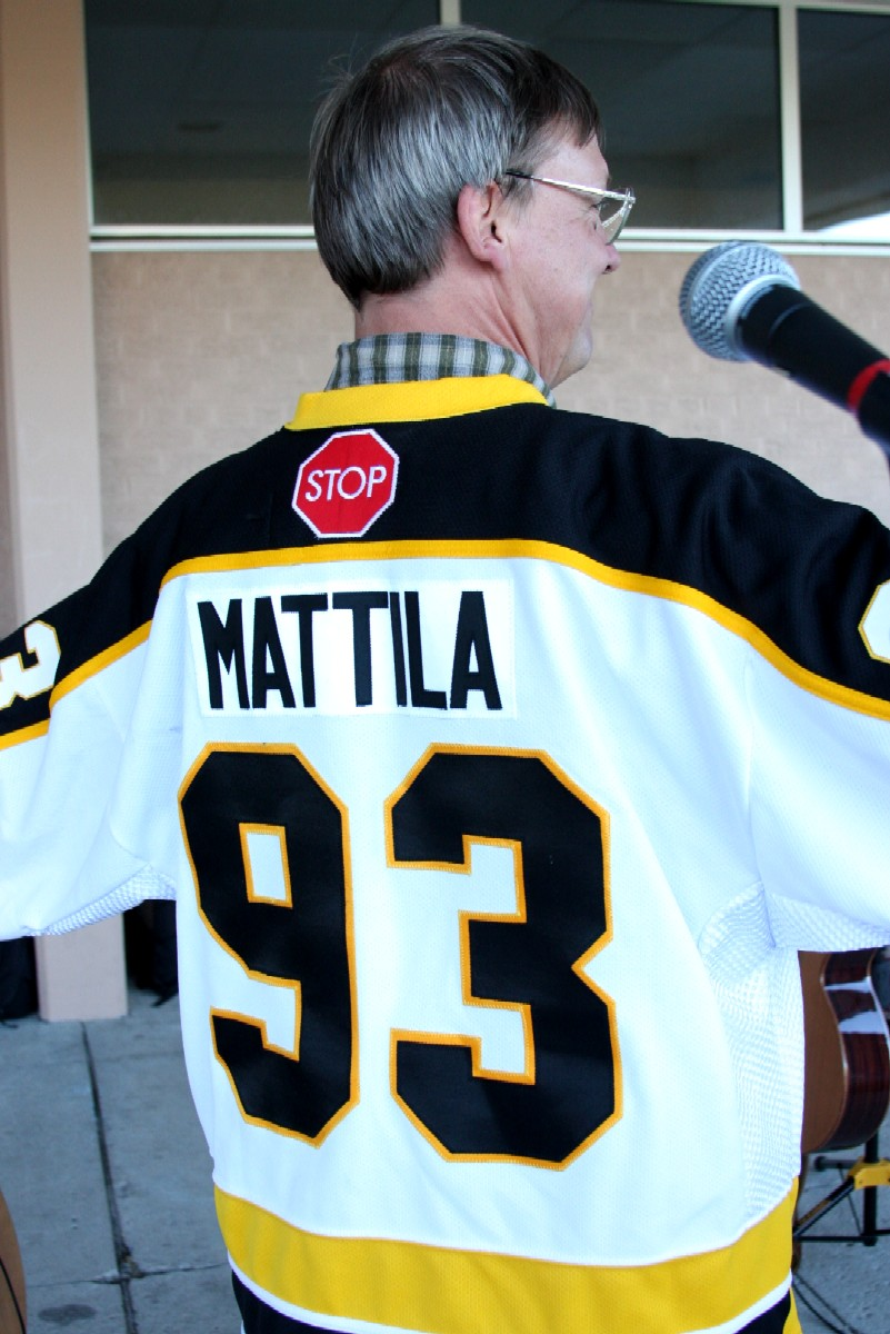 Eric's back showing Mattila jersey number 93