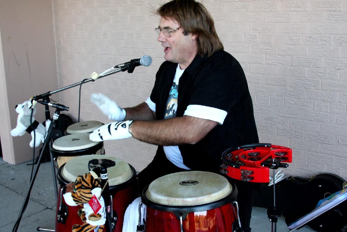 Jim DeVries playing bongos