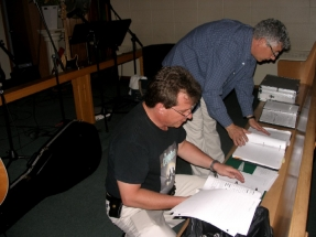 Mark and Burke organizing song binders