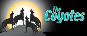 "4 howling coyotes silhouette against moon with ""The Coyotes"" label"